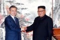 South Korean President Moon Jae-in and North Korean leader Kim Jong-un. Photo: Reuters