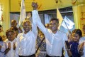 Maldives president-elect Ibrahim Mohamed Solih (centre left) celebrates with his running mate Faisal Naseem in Malé on Monday. Photo: AP