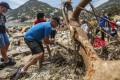 Shek O villagers and volunteers clean up debris and trees after Typhoon Mangkhut wreaked havoc on Hong Kong. Photo: Xiaomei Chen