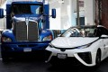 A Toyota Project Portal hydrogen fuel cell electric semi-truck and a Toyota Mirai hydrogen fuel cell vehicle shown during an event in San Francisco last month. Photo: Reuters