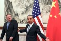 From left: US Secretary of State Mike Pompeo and Chinese Foreign Minister Wang Yi at the Diaoyutai State Guesthouse in Beijing. Photo: Reuters