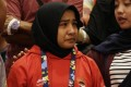Miftahul Jannah in tears after being disqualified. Photo: Antara