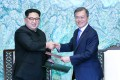 North Korean leader Kim Jong-un and South Korean President Moon Jae-in. Photo: Xinhua