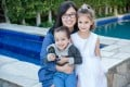 Au pair Sun Ying pictured with Mia Riverton Alpert's two children. Photo: Handout