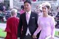 JD.com founder Richard Liu Qiangdong and wife Zhang Zetian attend the wedding of Britain's Princess Eugenie and Jack Brooksbank in St George's Chapel, Windsor Castle, on October 12. Photo: YouTube