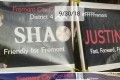 Devil horns and a swastika were scrawled on a poster featuring Justin Sha, a Chinese-American lawyer running for the city council in Fremont. Photo: Handout