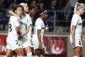 Wang Shuang (left) of PSG celebrates with teammates after scoring in the Uefa Women's Champions League. Photo: EPA