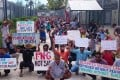 Refugees and asylum seekers protest at Australia's now-closed Manus Island immigration detention centre in Papua New Guinea. Photo: AP