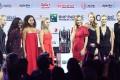 From left to right: Karolina Pliskova, Sloane Stephens, Naomi Osaka, Angelique Kerber, Caroline Wozniacki, Petra Kvitova, Elina Svitolina, and Kiki Bertens at the singles draw ceremony for the WTA Finals at the Marina Bay Sands Hotel in Singapore. Photo: AFP