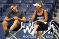 Tennis player Caroline Wozniacki of Denmark chats to her fiancé during a practice session prior to the US Open Tennis Championships at USTA Billie Jean King National Tennis Center in New York City, 2017. Photo: AFP