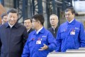 Chinese President Xi Jinping on a factory visit in Qiqihar, China, accompanied by top economic adviser vice-president Liu He (2nd from right) in September. Photo: Xinhua