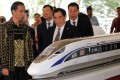Indonesian President Joko Widodo and the general manager of China Railway Corp, Sheng Guangzu, at the groundbreaking ceremony for the Jakarta-Bandung high-speed railway. Photo: Reuters