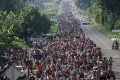 A caravan of thousands of migrants from Central America walk towards Tapachula from Ciudad Hidalgo while en route to the United States. Photo: Reuters