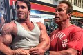 Calum Von Moger and Arnie at Gold's Gym in Venice, California. Photo: Instagram