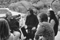 Orson Welles (second from left) on the set of The Other Side of the Wind. Photo: José María Castellví/Netflix