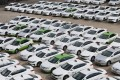 Taxis at a garage in Seoul, as their drivers join a protest against the carpooling service of Kakao. Photo: EPA