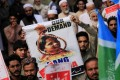 Protesters demonstrate against the acquittal of Asia Bibi, a Christian accused of blasphemy, in Peshawar, Pakistan on Friday. Photo: EPA