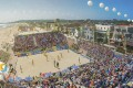 A rendering shows two temporary stadiums which will be built at South Mission Beach in San Diego for beach volleyball and beach soccer for the first World Beach Games next year. Photo: ANOC World Beach Games