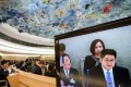 Chinese deputy foreign minister Le Yucheng attends the Universal Periodic Review of China before the United Nations (UN) Human Rights Council in Geneva on Tuesday. Photo: AFP