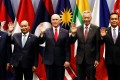 US Vice-President Mike Pence (centre) poses with fellow leaders at the Asean summit in Singapore on Thursday. Photo: Reuters