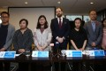 Meeting the press on November 7 are members of the Hong Kong UPR Coalition, including (from left): Lam Yin-pong from the Hong Kong Journalists' Association, Bonnie Leung from the Civil Human Rights Front, Sophie Cheung from Disabilities CV, Simon Henderson and Annie Li from Justice Centre Hong Kong, Jerome Yau from Pink Alliance, and Isabella Ng from the Hong Kong Society for Asylum-Seekers and Refugees. Photo: Jonathan Wong