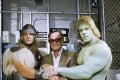 Marvel Comics founder Stan Lee, centre, with Eric Kramer (left) and Lou Ferrigno (right), who portrayed Thor and The Hulk, respectively, in a 1988 NBC movie. Photo: AP