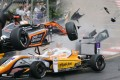Sophia Floersch's car is launched into the air after hitting the car of Japanese driver Sho Tsuboi. Photo: Twitter
