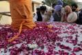 Visiting Indian pilgrims at the shrine of the Sikh spiritual leader Guru Nanak Dev, in Kartarpur, Pakistan, on November 28. Photo: EPA-EFE