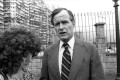 Former US president George H.W. Bush talks to a reporter in 1978 during one of his visits to Hong Kong. Photo: SCMP