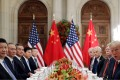 US President Donald Trump, Chinese President Xi Jinping and their respective teams attend a working dinner after the G20 leaders' summit in Buenos Aires on December 1. Photo: Reuters