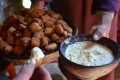 A favourite combination among Mongolia's nomads: urum, or cow's cream, with boortsog, delicious nuggets of sweetened fried dough.