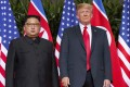 US President Donald Trump and North Korean leader Kim Jong-un during their Singapore summit in June. The US president has suggested that a second summit between the two could take place early in 2019. Photo: AP