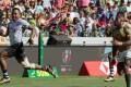Fiji's Vilimoni Botitu runs in to score against South Africa. Photo: AFP