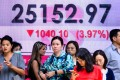 Pedestrians in front of a display that showed the Hang Seng Index at 25,152.97, down by almost 4 per cent on October 11, 2018 in Hong Kong. Photo: AFP