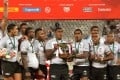 Fiji celebrate after winning the South Africa Sevens in Cape Town. Photo: AFP