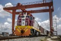 The 'Belt and Road Initiative' aims to revive and extend trading routes connecting China to the world. A Kenya Railways freight train pulls shipping containers in Mombasa, Kenya, on September 1, 2018. Photo: Bloomberg