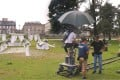 A film crew works on the Chinese TV series Crocodile and the Plover Bird in a public park in Bordeaux, western France. Photo: AFP
