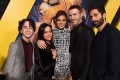 Hailee Steinfeld (centre), Travis Knight (second from right) and cast and crew members of Bumblebee attend its Hollywood Premiere on December 09. Photo: Michael Kovac/Getty Images for Paramount Pictures