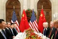 Chinese President Xi Jinping and US President Donald Trump (right) attend a working dinner after the G20 summit in Buenos Aires on December 1. Photo: Reuters