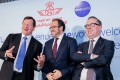 Oneworld CEO Rob Gurney (left), pictured with Royal Air Maroc CEO Abdelhamid Addou (centre), and Qantas CEO Alan Joyce (right) at the announcement of Royal Air Maroc as the newest member of the alliance in New York last week. Photo: Handout