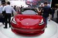 A Tesla Model 3 car is displayed during a media preview at the Auto China 2018 motor show in Beijing on April 25. Photo: Reuters