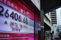 An electronic board showing the Hong Kong shares index. Photo: AP