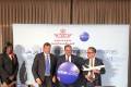 Oneworld CEO Rob Gurney (left), with Royal Air Maroc CEO Abdelhamid Addou (centre), and Qantas CEO Alan Joyce (right) in New York last week, announcing the Moroccan airline RAM as the newest member of the alliance. Photo: Danny Lee