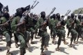 Newly trained al-Shabab fighters perform military exercises in the Lafofe area south of Mogadishu, Somalia, in this file photo. Photo: AP