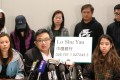 James To (centre) and the families of the detained Hongkongers called on other residents of the city to help them raise money for legal fees. They asked that donations be sent to the Bank of China account of Lo Shu-yau, brother of Lo Wing-fai. Photo: Felix Wong