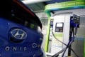 A Hyundai Motor's electric car IONIQ is charged at a electric charging station in Seoul, South Korea. Photo: Reuters