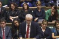 In an image from House of Commons TV, Britain's opposition Labour Party leader Jeremy Corbyn makes a statement on Wednesday after being accused of calling Prime Minister Theresa May a 'stupid woman'. Photo: AP