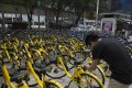 People using mobile payments to rent Ofo bikes in Shenzhen, China. Photo: SCMP