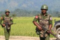 A file photo of Myanmar army soldiers patrolling a village in Rakhine State. Photo: AFP