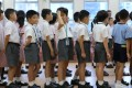 Students stand in line on the first day of school. According to a new survey, about one in five primary school children in Hong Kong suffer from depression. Photo: Sam Tsang